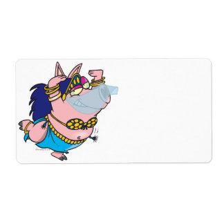 cute pig belly dancer cartoon character