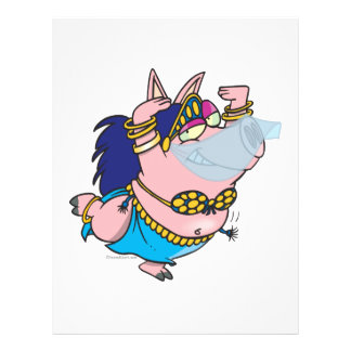 cute pig belly dancer cartoon character personalized flyer