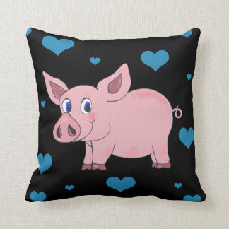 Cute Pig Black Pillow Hearts and Flowers