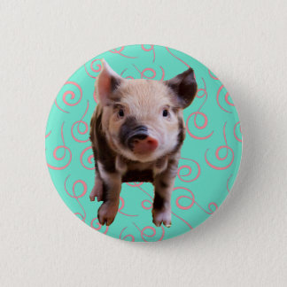 Cute Pig - Blue & Pink Swirls 6 Cm Round Badge