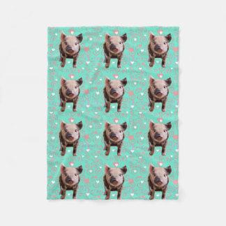 Cute Pig - Blue & Pink Swirls Fleece Blanket