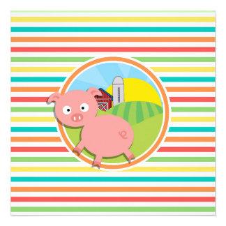 Cute Pig; Bright Rainbow Stripes Custom Invites