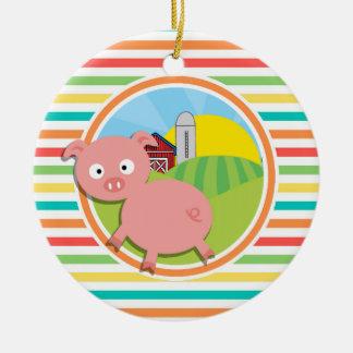 Cute Pig Bright Rainbow Stripes Christmas Ornament