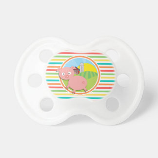 Cute Pig Bright Rainbow Stripes Baby Pacifiers