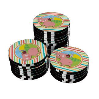 Cute Pig; Bright Rainbow Stripes Set Of Poker Chips