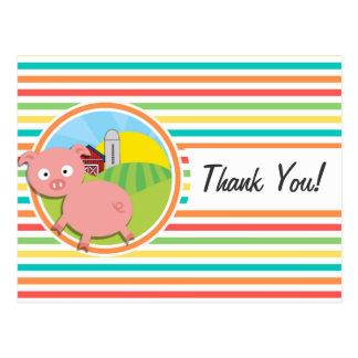 Cute Pig; Bright Rainbow Stripes Post Card