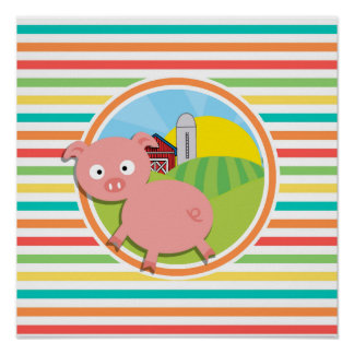 Cute Pig; Bright Rainbow Stripes Posters
