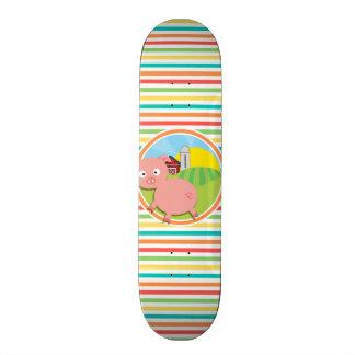 Cute Pig Bright Rainbow Stripes Skateboard Deck