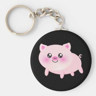 Cute pig cartoon basic round button key ring