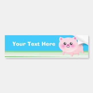 Cute pig cartoon bumper sticker