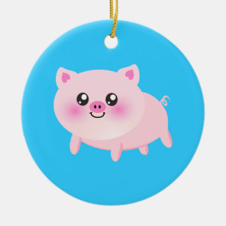 Cute pig cartoon christmas ornament