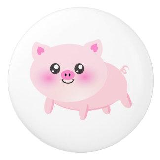 Cute pig cartoon - farm animal designs ceramic knob