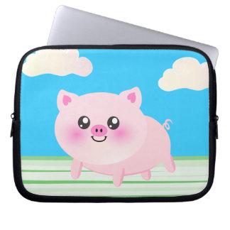 Cute pig cartoon laptop sleeve