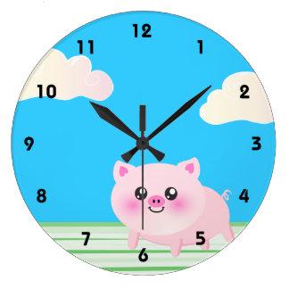 Cute pig cartoon large clock