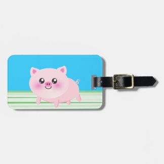 Cute pig cartoon luggage tag