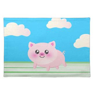 Cute pig cartoon placemats