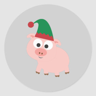 Cute Pig Christmas Elf Classic Round Sticker