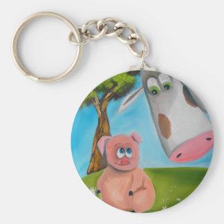 cute pig cow daisy chain basic round button key ring