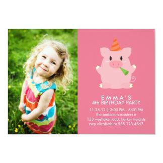 Cute Pig Custom Photo Birthday Party 13 Cm X 18 Cm Invitation Card