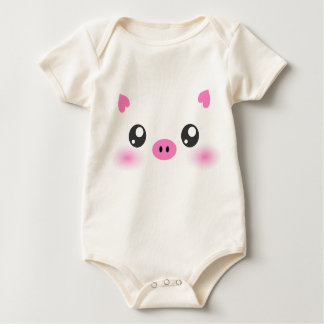Cute Pig Face - kawaii minimalism Baby Bodysuit