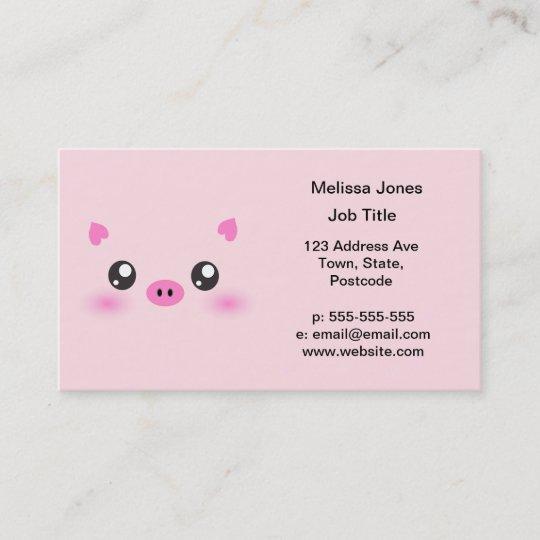 Cute Pig Face Kawaii Minimalism Business Card Zazzle