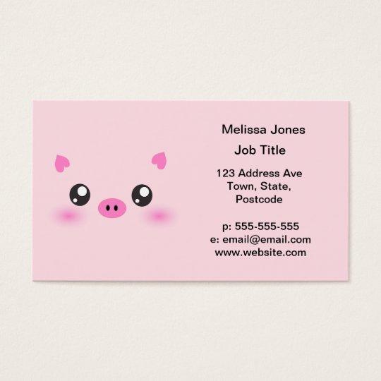 Cute Pig Face - kawaii minimalism Business Card