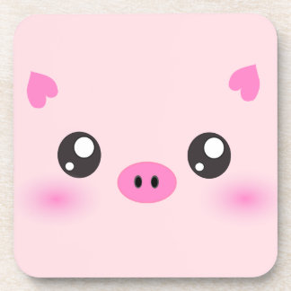 Cute Pig Face - kawaii minimalism Coaster