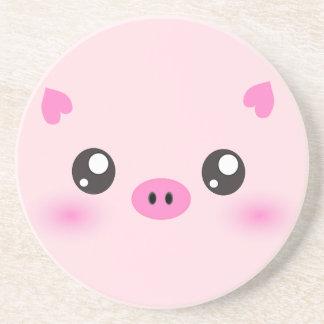Cute Pig Face - kawaii minimalism Coaster