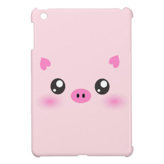 Cute Pig Face - kawaii minimalism iPad Mini Covers