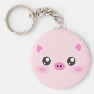 Cute Pig Face - kawaii minimalism Key Ring