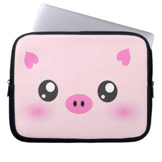 Cute Pig Face - kawaii minimalism Laptop Sleeve