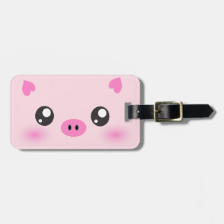 Cute Pig Face - kawaii minimalism Luggage Tag