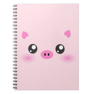 Cute Pig Face - kawaii minimalism Notebooks