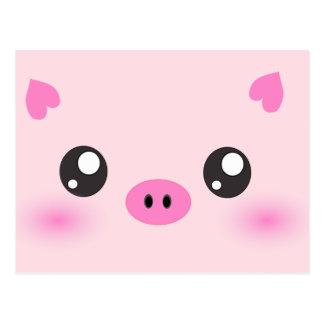 Cute Pig Face - kawaii minimalism Post Cards