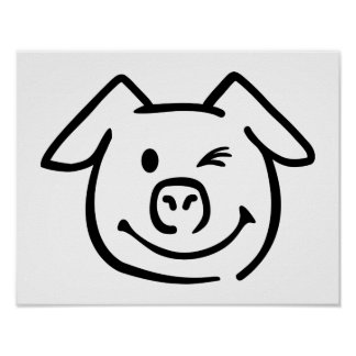 Cute pig face poster