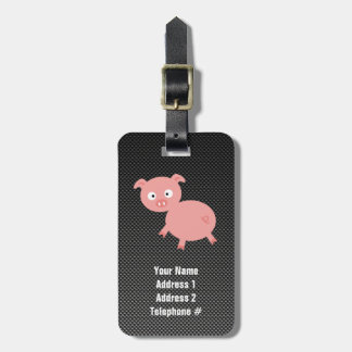 Cute Pig; Faux Carbon Fiber Luggage Tag
