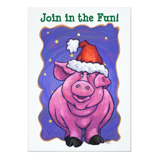 Cute Pig Holiday Party Invite