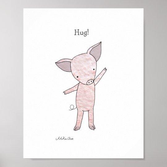 Cute Pig Hug Poster Piglet Farm Animal Art