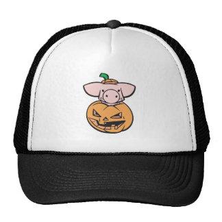 cute pig in a pumpkin hat
