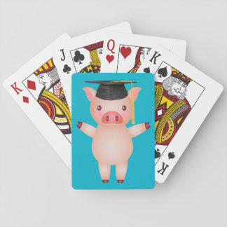 Cute Pig in Graduation Cap Playing Cards