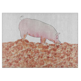 Cute Pig in Mud Funny Watercolour Animal Art Cutting Board