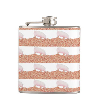 Cute Pig in Mud Funny Watercolour Animal Art Hip Flask