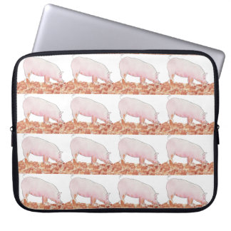 Cute Pig in Mud Funny Watercolour Animal Art Laptop Sleeve