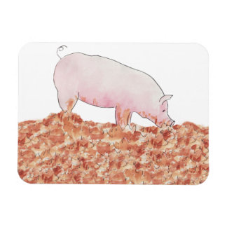 Cute Pig in Mud Funny Watercolour Animal Art Magnet