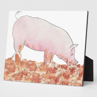 Cute Pig in Mud Funny Watercolour Animal Art Plaque