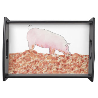 Cute Pig in Mud Funny Watercolour Animal Art Serving Tray