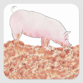 Cute Pig in Mud Funny Watercolour Animal Art Square Sticker