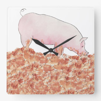 Cute Pig in Mud Funny Watercolour Animal Art Square Wall Clock
