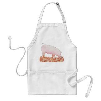 Cute Pig in Mud Funny Watercolour Animal Art Standard Apron