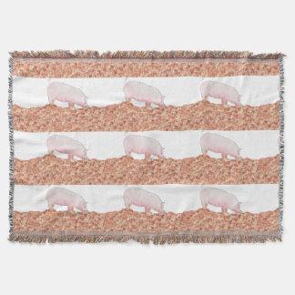 Cute Pig in Mud Funny Watercolour Animal Art Throw Blanket